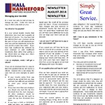 Newsletter Thumbnail Hall-Hanneford August 2014